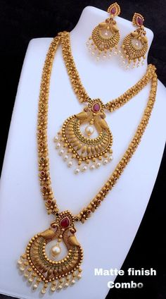 Matte Finish Short and Long Necklace Set Indian Jewelry Sets, Silver Jewellery Indian, Bridal Jewelry Sets, Ethnic Jewelry, Indian Gold Necklace, 1 Gram Gold Jewellery, Bridal Necklace Set, Girls Jewelry, Women Jewelry