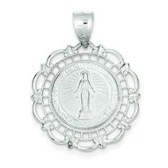 14K White Gold Virgin Mary Medal Charm Pendant * See this great product @ http://www.amazon.com/gp/product/B002EZADNS/?tag=jewelry163-20&pde=200716065731
