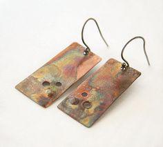 Rustic metallic copper earrings by JudysDesigns #handmade #jewelry