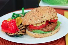 Turkey-bison burger with grilled veggies and bean salad.