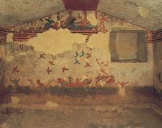 a) left wall of the 2nd chamber of Tomb of Hunting & Fishing b) ca.510 BCE c) fresco (pigment in wet plaster) d) Monterozzi necropolis, Tarquinia e) unique in painted tombs because it highlights the natural environment, whereas others merely hinted at it; may be the inspiration for the Tomb of the Diver painting; coloring is decorative (striped rocks, bold colored birds); banqueting theme is confined to the pediment (usually, banquet scene is focused on)