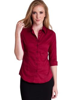 Three Quarter Sleeve Button Up Blouse T1005BG, clothing, clothes, womens clothing, jeans, tops, womens dress