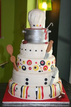 How cute! I have a chef friend that this would make an awesome birhtday cake for!! -- Cooking (www.felicitaartjes.nl)