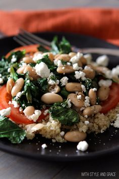 "Leafy Greens & White beans over Quinoa: ""This is one of my easy go-to, I NEED HEALTHY FOOD meals. It never fails me."""