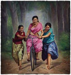 20 Ideas Mother Nature Artwork Illustrations For 2019 Village Scene Drawing, Art Village, Village Photos, Indian Village, Indian Women Painting, Indian Art Paintings, India Painting, Woman Painting, Indian Drawing