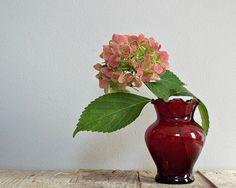 ANTIQUE small vase, vintage dark red glass, glassware, flowers vase, home decoration