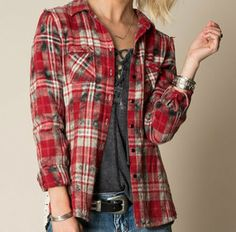 Love Spell 100% Cotton Plaid Button Front Shirt with Back Lace Accents