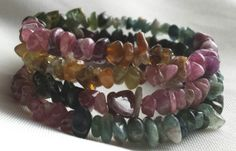 Tourmaline Chip Memory Wire Bracelet by CinsWhims on Etsy, $28.00