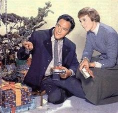 .A Christmas promotional photo of Christopher Plummer and Julie Andrews from The Sound of Music