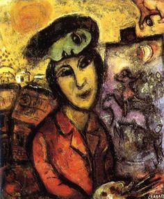 """""""Artist At His Easel"""" by Marc Chagall is his very famous painting. The painting represents the artist at his work. Marc Chagall, Artist Chagall, Chagall Paintings, Oil Paintings, Folklore Russe, Modigliani, Jewish Art, Art Graphique, French Artists"""