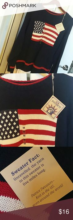 😎NWT 🇺🇸 American Patriot Sweater 🇺🇸 VINTAGE PATRIOT Brand by Exacta  KNIT in USA -- WORN Around the world!!!  Fantastic ultra cozy very very well made American Flag sweater  Pic colors are true to item!  Perfect gift or snuggle yourself!!!!!!!! Patriot Sweaters