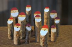 Log Santas - Primitive Christmas Decorations - Wooden Santa - Rustic Christmas Decor - Christmas Mantle Decoration - Christmas Party Gift by GFTWoodcraft on Etsy https://www.etsy.com/listing/208320060/log-santas-primitive-christmas