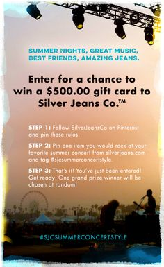 Show us your summer concert style and you could win a $500.00 gift card to Silverjeans.com! #SJCsummerconcertstyle contest #IndigoSummer #silverjeans *See official rules at www.silverjeans.com/rules