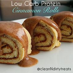 Low Carb Protein Cinnamon Rolls 35 g Protein What you will need:  1/4c Coconut Flour 1 scoop (~33g) vanilla protein powder (I used Dymatize Whey) 1/2 tsp Xanthan Gum 1/4 tsp baking powder 2 tsp stevia 1 egg white 3 tbsp water  Filling:  1 tbsp stevia 1 tbsp cinnamon 1 tbsp water  Topping: Sweet Spreads Cinnamon Roll Coconutter (coconut butter spread)
