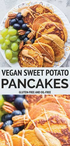 Vegan sweet potato pancakes Fluffy and soft with a perfect level of sweetness these make a great easy weekend breakfast or brunch served with plenty of maple syrup and peanut butter. Glutenfree and oilfree. Sweet Potato Pancakes Vegan, Sweet Potato Breakfast, Sweet Potato Recipes, Vegan Pancakes, Vegan Pancake Recipes, Vegan Recipes Easy, Whole Food Recipes, Vegan Brunch Recipes, Bread Recipes