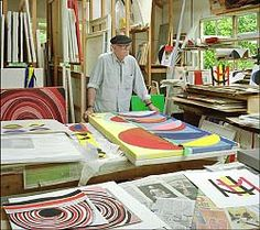 Terry Frost in his studio - St Ives Find original art for sale here… Artist Workspace, Painters Studio, The Last Picture Show, Colorful Paintings, Original Art For Sale, Creative Studio, Art Studios, Artist At Work, Frost