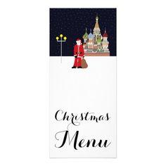Santa In Moscow Christmas Menu Rack Card
