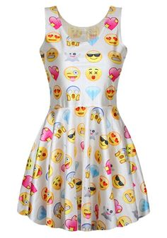 Refreshing Style Scoop Neck Sleeveless Printed Emoji Dress For Women