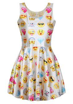 Refreshing Style Scoop Neck Sleeveless Printed Emoji Dress For Women