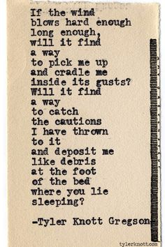 Tyler Knott Gregson. Who the fuck is this person and why am i discovering his amazingness only now???