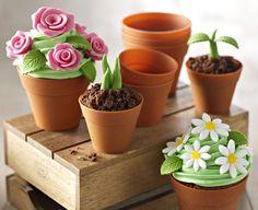 Moldes maceta para repostería - están fabricados en silicona y hay dos medidas disponibles, de 8 y 5 centímetros de diámetro. Estos moldes permiten crear pasteles que aparentan ser una maceta con sus flores y muchas cosas más.