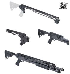 """High-tube kits require rail-mounted optics; all High-tube kits include a top Picatinny rail. They accept most AR-15 stocks or pistol grips.  Complete telescoping stock kits include stock adapter, Hogue pistol grip and push-button sling swivel. Buttstocks are the new pattern 6-position telescoping M4 SOPMOD polymer stocks.   Available in 9 1/2"""" or 24 """" inch Picatinny rail.  24 inch Remington rails with no clamps require magazine or barrel clamp to support front of rail. Mesa Tactical, Tactical Shotgun, Tactical Gear, Mossberg 500 Tactical, Pump Action Shotgun, Firearms, Shotguns, Ar Build, Picatinny Rail"""