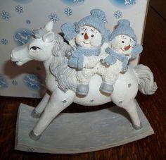 1999 Encore Snow Buddies Snowman Figurine #94200 Ride 'Em Buddies NIB
