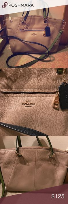 Coach soft leather satchel crossbody bag. Soft leather. Tan in color with the straps accented in navy blue and olive green. In great condition! Medium in size. Front pocket big enough to fit an iphone 7+ Coach Bags Crossbody Bags