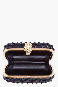 Black Net Skull Box Clutch - Alexander McQueen.