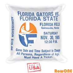 1985 Florida Gator Retro Ticket Pillow. Vintage Ticket Stub pillows by Row One Brand. Made from over 3,000 authentic retro game tickets.