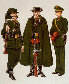 Guardia con Uniforme de Servicio en despoblado en verano (1943 – 73) Guardia con Uniforme de Servicio en despoblado en invierno (1943 – 73) Especialista fiscal con Uniforme de diario para paseo (1943)