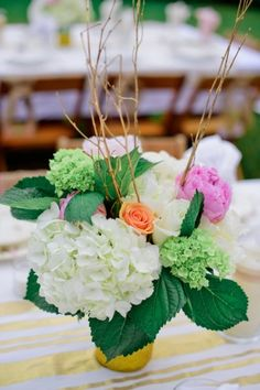 White, green and pink centerpiece   A Vintage Glam New Years Eve Wedding
