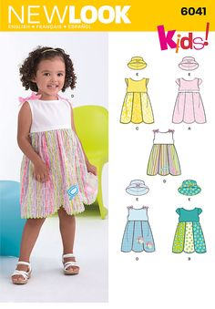 New Look pattern 6041: Toddler's Dress & Hat