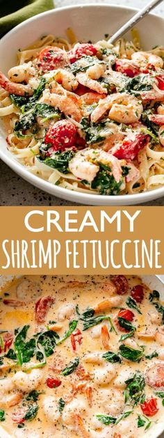 Creamy Shrimp Fettuccine with Spinach and Tomatoes Recipe - For a quick and delicious weeknight dinner, whip up this shrimp fettuccine coated in a light and creamy sauce prepared with spinach and cherry tomatoes! recipe for dinner Creamy Shrimp Fettuccine Shrimp And Spinach Recipes, Creamy Pasta Recipes, Shrimp Recipes For Dinner, Shrimp Recipes Easy, Easy Dinner Recipes, Seafood Recipes, Chicken Recipes, Easy Meals, Healthy Recipes
