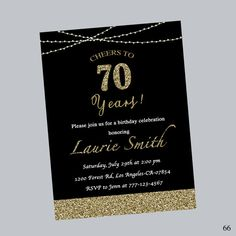 70th birthday party invitations wording birthday party invitation 70th birthday invitationbirthday invitationbirthday partysurprise birthdayglitterblackbirthday inviteany ageprintabledigital file filmwisefo