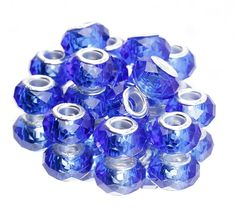 9x14mm Faceted Crystal Glass Beads Fit European Charms Bracelet Royal Blue