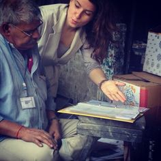 Explaining prints to the talented artisans we work with. #ecru #prints #artisans #jaipur #instagram