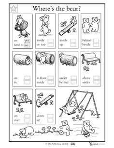 first grade prepositions worksheets - Google Search