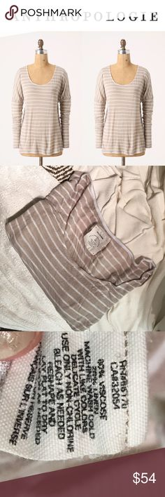 """Anthropologie Allihop Pyla Pullover Neutral Stripe COZY COZY COZY - did I mention cozy? Though this tee is technically loungewear, this would be just as functional and cute with jeans, boots and a jacket. The top is semi-sheer. The length hits just past hips - about 25"""" long. With a muted color andstriped pattern, it's perfect for fall through winter wear. Not to mention it's super comfortable. EUC NO FLAWS - Gently worn and loved - SIZE XL (but will serve sizes M-XL quite well!)…"""