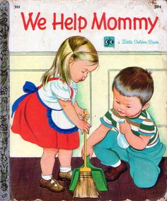 "We Help Mommy, Illustrations by Eloise Wilkin, 1959 (1972 Reissue)- Cover    		from ""We Help Mommy"", Little Golden Book, 1959 (1972  edition)by Jean CushmanIllustrations by Eloise Wilkin"