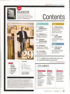 layout from Money magazine - Like the layout, not the fonts or masculine/techy look