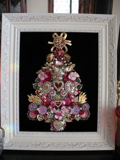 Be Mine - Valentine Themed Framed Vintage Jewelry Christmas Tree Jeweled Christmas Trees, Christmas Tree Art, Christmas Jewelry, Vintage Christmas, Christmas Crafts, Christmas Ideas, Xmas Trees, Christmas 2017, Holiday Ornaments