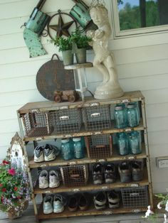 cute outdoor area! But I don't keep my shoes outside. It freaks me out a little! A spider or wasp could get in there!!