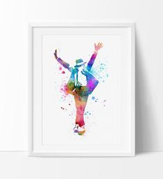 Michael Jackson Poster, Watercolor Painting, Watercolor Art, Wall Art, Wall Hanging, Michael Jackson Art Print, Music Poster, Decor(235)