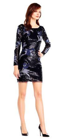 21ffc261 Long sleeve sequin floral embroidered sheath dress Aidan Mattox, Straight  Skirt, Bateau Neckline,