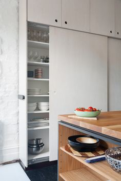 minimal modern contemporary scandinavian designed storage pantry cupboards in a Bell St Kitchen, Fitzroy - designed by HEARTH
