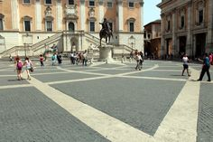 Piazza del Campidoglio - Michelangelo designed both the geometric paving and the facades of the buildings
