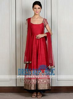 Indian Designer Manish Malhotra Anarkali Collection  Buy Online Red Raw Silk Dress from Indian Designer Manish Malhotra Anarkali Collection 2014 in Morada, La Habra Heights, French Camp, August, California USA. by www.dressrepublic.com