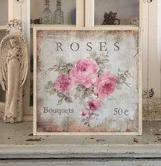 Cottage Chic Roses Sign Framed Print on Wood by Debi Coules - March 24 2019 at Cocina Shabby Chic, Muebles Shabby Chic, Shabby Chic Kitchen Decor, Shabby Chic Living Room, Shabby Chic Bedrooms, Shabby Chic Furniture, Vintage Furniture, Bedroom Furniture, Farmhouse Bedrooms