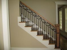 Iron Stairs Railing Ideas Banisters Ideas For 2019 Wrought Iron Stair Railing, Stair Railing Design, Metal Railings, Stair Decor, Staircase Railings, Banisters, Railing Ideas, Staircase Remodel, Staircase Makeover